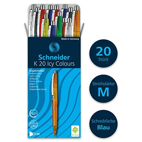 Schneider K20 Icy Colours balpen (documentechte vulling - lijndikte M, inktkleur: blauw, Made in Germany) 20-pack gesorteerd