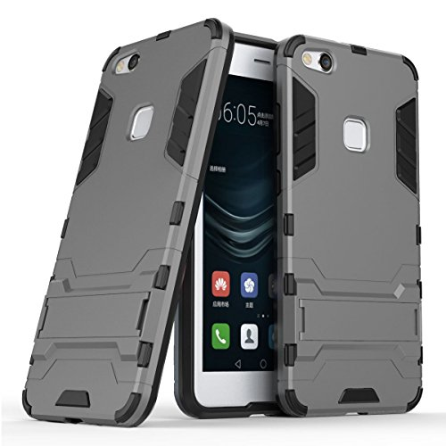 Hoesje voor Huawei P10 Lite (5,2 inch Scherm) 2 in 1 Hybrid Rugged Schokbestendige Back Cover met Kickstand Hoes (Grijs)