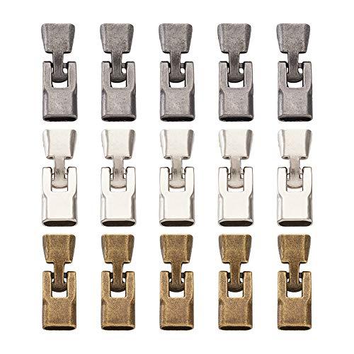 15 juegos de aleación con hebilla plana y cierre de cordón de cierre de cable de cierre de conector de 3 colores para pulsera de cuero y joyería