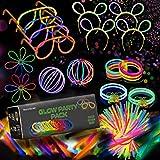 Pack fiesta, barras luminosas, 224 piezas, 100 palos de color, 100 conectores para pulseras fluorescentes que brillan + 24 conectores para crear gafas, pelotas, flores, diademas y collares.