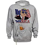 Donald Trump Merica Funny 4th of July American Flag 2020 Beer Holder Tailgate Hoodie Sweatshirt Unisex Medium Oxford