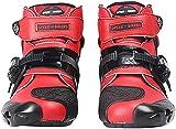 FGDFGDG Botas de Moto, Motociclista Suave, Botas de Motocross de Velocidad, Zapatos de Moto Antideslizantes, Botas de Moto Impermeables para protección Botas de Cuero Botas de Moto,Rojo,44