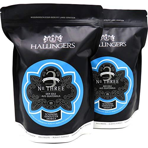 Hallingers Gourmet-Kaffee aus Guatemala, schonend langzeit-geröstet (1.000g) - No. Three, Set 2x 500g (Aromabeutel) - zu Passt immer