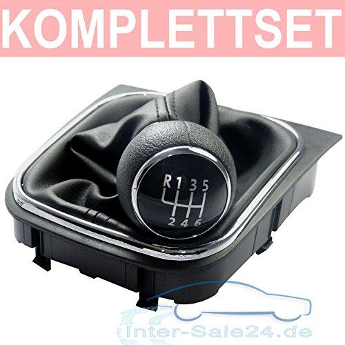 L & P Car Design L&P A256 Schaltsack Schaltmanschette Schwarz Naht Schwarz Schaltknauf 6 Gang kompatibel mit VW Golf 5 V Golf 6 VI Rahmen Knauf Plug Play Ersatzteil für 1K0711113 5K0711113 1K8711113