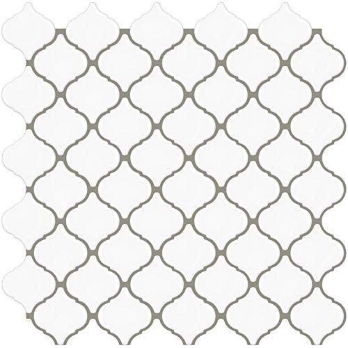 STICKGOO - Adhesivos para azulejos engrosados, adhesivos decorativos impermeables para azulejos para cocina y baño, 30.5cm * 30.5cm (Arabesco blanco -10 piezas)