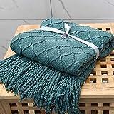 Jiaquhome - Manta de punto con borlas de diamante para sofá cama, yoga, coche y siesta, color verde, 127 x 170 cm