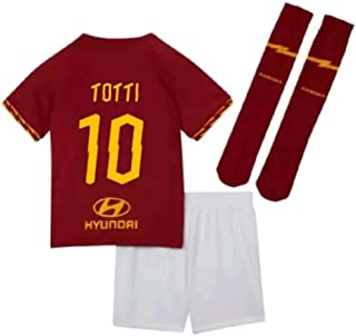 Totti #10 2019-2020 AS Roma Kids/Youths Home Soccer Jersey/Short/Socks Colour Red