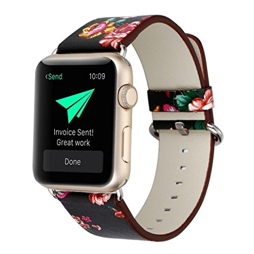 YOSWAN Floral Printed Leather Band for Apple Watch