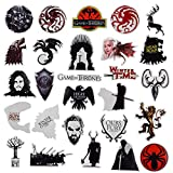 27pcs Game of Thrones Stickers Winter is Coming Fire and Blood,KONLOY Stickers Decal for Water Bottles Vinyl Sticker MacBook Mac Air Pro Retina Laptop Big Stickers