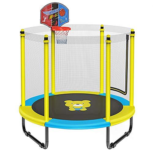 Trampolino Rinforzato per Bambini, Tappeto Elastico Fitness con Canestro da Basket, Trampoline Elastico Ricreativo per Sport di Salto Indoor All'aperto,Giallo
