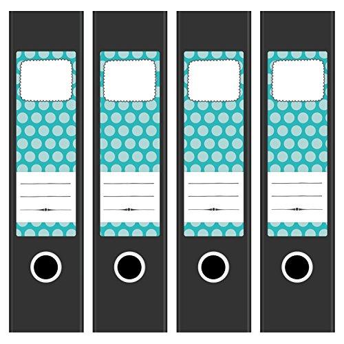 4 x Design Akten-Ordner Etiketten/Aufkleber/Rücken Sticker/mit Design Motiv Dots Türkis/für breite Ordner/selbstklebend / 6cm breit