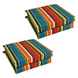 Blazing Needles Patterned Outdoor Spun Polyester Chair Cushions Set, Set of 4, 20' x 19', Westport Teal