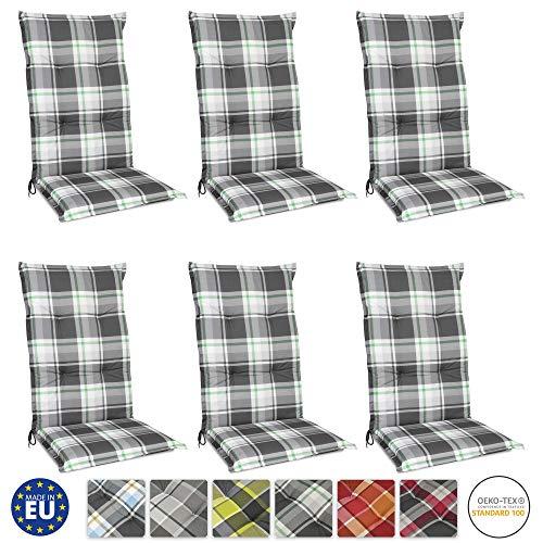 Beautissu 6er Set Sunny MK Hochlehner Auflagen Set für Gartenstühle 120x50 cm in Mintgrün Kariert - Bequeme Gartenstuhl Stuhlkissen Polsterauflagen UV-Lichtecht