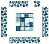 CYJZHEU Copri Piastrelle Cucina Adesive, 20 Pezzi Adesivi per Piastrelle Bagno Mosaico Piastrelle Impermeabili 3d Per il Bagno Soggiorno Arte Murale Adesivi Decorazioni per la Casa 10x10cm (Blu)