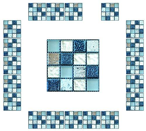 CYJZHEU Baldosas Adhesivas Suelo pvc, 20 Pieza Pegatinas para Azulejos de Cocina 10x10 Azulejos autoadhesivos Impermeable Para Baño, Sala de Estar, Pegatinas de Pared, Decoración Del hogar (Azul)