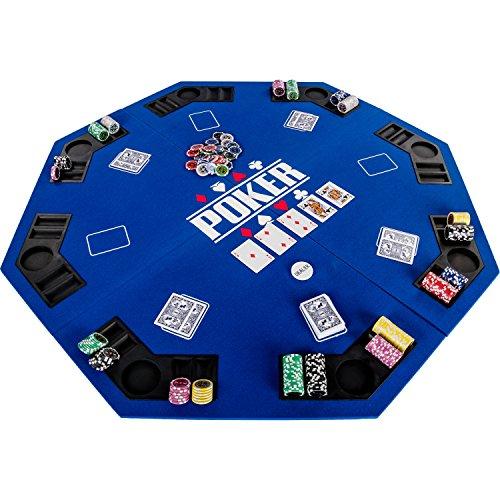 Maxstore Plateau de Poker Pliable Fullhouse pour jusqu à 8 Joueurs de Poker octogonal, Dimensions: 120 x 120 cm, Panneau MDF, 8 Porte-gobelet, 8 Chip Moyenne, Bleu