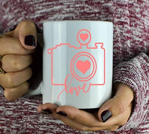 N\A Taza de la cámara del Amor - Taza de café del Regalo del fotógrafo - Taza de café Linda - Cámara - Regalo del fotógrafo de la Boda - Regalo para el fotógrafo