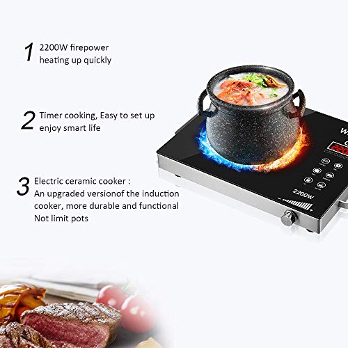 Portable Induction Cooktop induction stove Countertop Burner, 2200 W 120-Volts Induction Cooker with Timer Temperature Control, Smart Touch Sensor Electric Ceramic Cooker Glass Plate Cooktop for Stainless Steel All Cookware