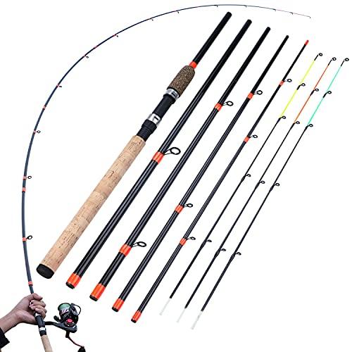 Sougayilang Feeder Rod mit 3 Spitzen Tragbare Angelrute Spinning Casting Travel Rod Vollsortiment Action Karpfen Grobrute