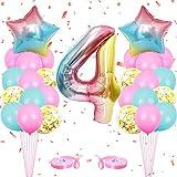onehous Luftballon 4. Geburtstag Rosa, Geburtstagsdeko 4 Jahr Mädchen, Ballon 4 Geburtstag, Riesen Folienballon 4 Rosa, Zahlenballon 4 Deko zum Geburtstag