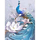 Paint by Numbers for Adults Animal, DIY Oil Painting Blue Flower Peacock Acrylic Paint by Number Kits for Kids Adults Beginner for Home Wall Decor 16x20 inch