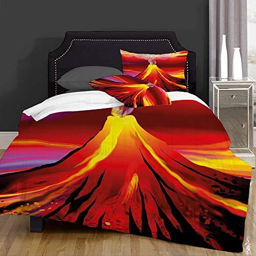 not Edredón- Ropa de Cama,Digital Painting of Volcano with Smoke Vibrant Abstract Eruption Scenery,Microfibra,edredón 1 edredón 240×260CM y 2 Fundas de Almohada 50×80CM