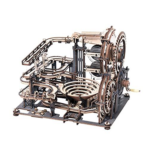 Robotime Murmelbahn Trackball 3D Puzzle Spielzeug Modell Bausatz Mit Acrylständer Kugelbahn Spiel Perpetuum Mobile Holzbausatz Mechanische Holzpuzzle für Kinder und Erwachsene