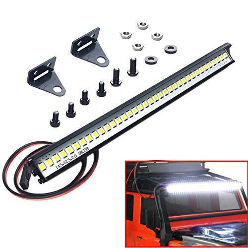 "ShareGoo Super Bright 36 LED Light Bar Metal Roof Lamp Lights 150mm/5.9"" for Traxxas TRX4 90046 D90 Axial SCX10 1/10 RC Rock Crawler Climbing Car Truck,L Shape Brackets"