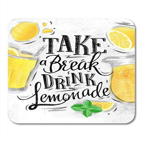 Mauspad glas zitronenkrug minze schriftzug pause pause trinken limonade mousepad für notebooks, Desktop-computer mausmatten, Büromaterial