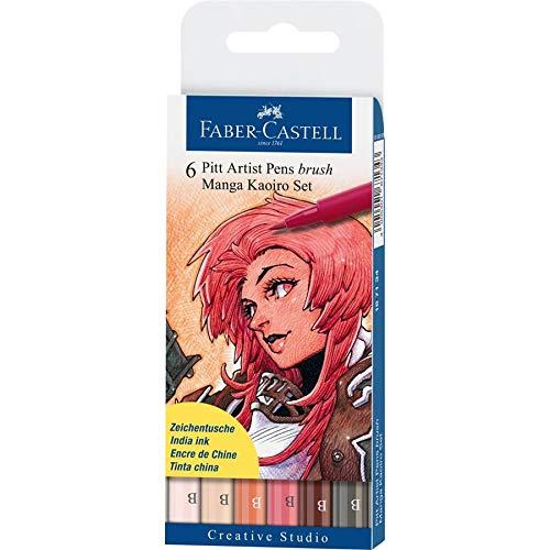 Faber-Castell 167134 - Tuschestift Pitt artist pen brush -Manga Kaoiro- 6er Packung, sortiert