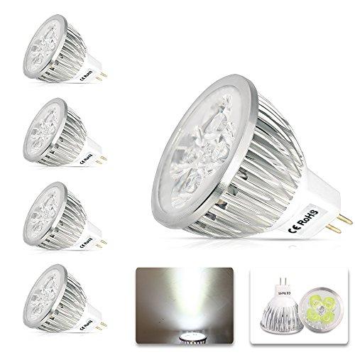 MUMENG 4W MR16 GU5.3 LED Lampen, 300LM, 12V DC, Kaltweiß, 6000K, 60° Abstrahlwinkel, LED Spotlight, LED Birnen, LED Leuchtmittel, 4er Pack