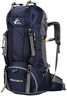 Free Knight 60L Hiking Backpack Large Capacity Internal Frame Water Resistant for Outdoor with Rain Cover Dark Blue