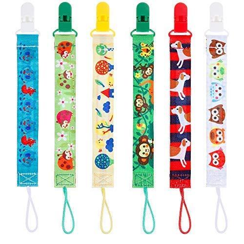 Lictin 6 Pcs Cadenas para chupetes chupetero con adorable diseño a dos caras Unisex Clips para niños y niñas con DIY diseño el nombre del bebé
