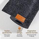 Miqio ® - Design Tischläufer aus Filz abwaschbar | Marken Label aus Echtleder | Tischband 150x40 cm | Skandinavische Deko - passend Tischsets, Platzsets, Tischdecken | dunkel grau - 7