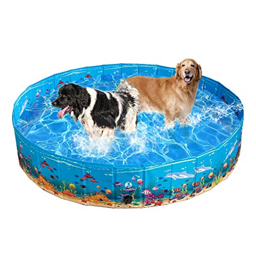 KOOLTAIL Foldable Dog Swimming Pool - Extra Large Pet Bathtub - Collapsible Summer Pool with Underwater World Print Portable Durable Outdoor Bathing Pool, 63 x 11.8 inches for Dogs Cats and Kids