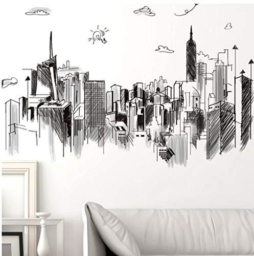 Terilizi potlood schets stijl high-Rise gebouw muur Stickers DIY muurschildering Applique woonkamer slaapkamer huis decoratie