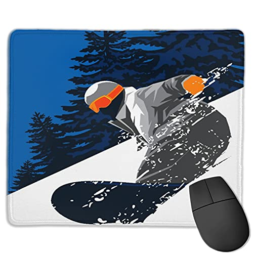 Gaming Mouse Pad Benutzerdefiniert,Snowboard Powder Snow,Office Rectangle rutschfeste Gummi-Mauspad für Computer Laptop 9.8