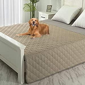 SPXTEX Dog Bed Cover Washable Couch Cover Non-Slip Sofa Cover Furniture Protector Cover Reusable Incontinence Bed Underpads for Pets Kids Children Dog Cat 1 Piece 68″x82″ Beige+Sand