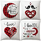 7COLORROOM 4 Pack Happy Valentine's Day Pillow Covers Red and Black Buffalo Check Plaid with Birds Romantic Gift Love Quotes Cushion Cover Square Pillowcases 18 x 18 Inches(Moon Valentine's Day)