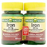 Best Iron Pills - Spring Valley Iron 65 mg, 100 Tablets Review