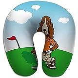 Rundes U-förmiges Hals-/Kopfgedächtnisschaum-Reisekissen Dog Golfer