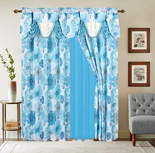 """Gentle Home 2PC Flower Print Curtain Window Panel Set with Attached Valance with Beads Sheer Backing and 2 Tie Back for Living Room Bedroom Dining 54""""Width 84"""" inch Long Taylor Collection (Blue)"""