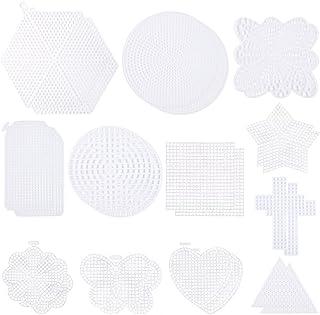24 PCS Mesh Plastic Canvas Sheets 12 Shapes Hexagon Circle Round Butterfly Flower Heart Star Cross Needlework Blank Plasti...