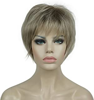 Aimole Short Wig Straight Hair Soft Layered Shag Ombre Blonde Full Synthetic Wigs