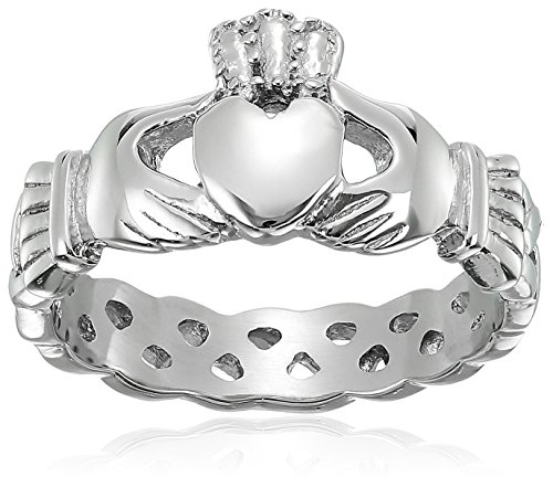 ELYA Jewelry Womens Stainless Steel Claddagh with Celtic Knot Promise Ring, White, 5