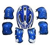 Kalaokei Juego de patines para niños, casco y patines, equipo de protección, para niños, patines, casco de seguridad, rodillera, codo, muñequera, protector de muñeca, color azul oscuro