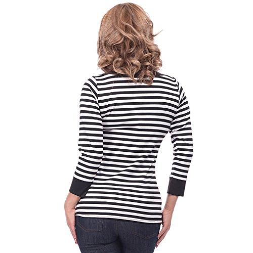 Steady Clothing Damen Retro Bluse mit Schleife – Striped Boatneck Rockabilly Oberteil 3/4 Arm Schwarz M - 4
