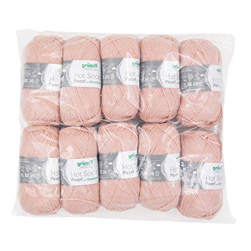 Gründl 3409–16 Hot Socks Pearl Uni, Avantage Pack de 10 à Tricoter 50 g de Laine pour Chaussettes, 75% Laine (Mérinos Superwash), 20% Polyamide, 5% Cachemire, Vieux Rose, 40 x 37 x 11 cm