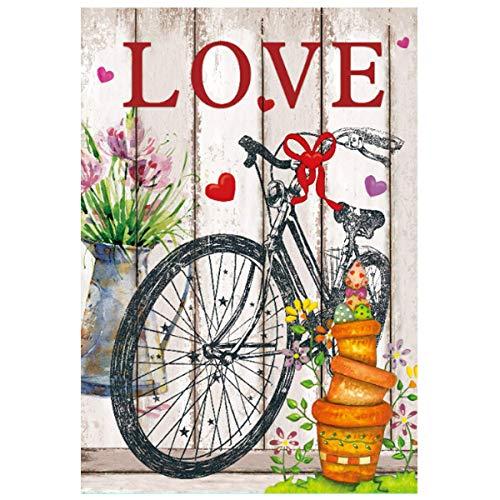 Odeletqweenry Tuin Vlag Liefde Valentijnsdag Huis Vlag Decoratieve Fiets Lente Vlag 12,5 x 18 Inch