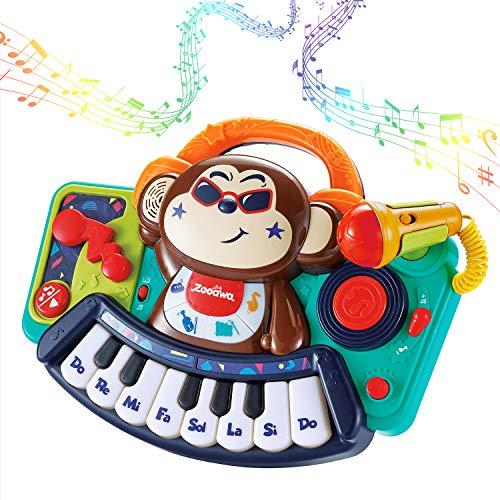 ZooawaKidsMusicalPianoToy, ToddlerMusicalMonkeyPianoKeyboardToyswithMicrophone, DJMixer, Lights & SoundsKidsMusicToyLearning, BirthdayGiftfor1824Months23YearOldBabyGirlBoy